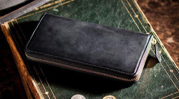 国産最高級コードバンを使ったラウンドファスナー長財布です