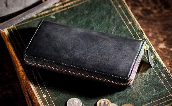国産最高級コードバンを使ったラウンドファスナー長財布