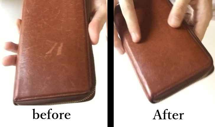 革財布の傷 直す前と直した後